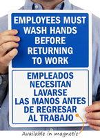 Employees Wash Hands Before Returning Bilingual Signs