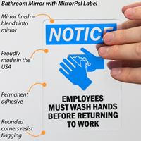 Employees Must Wash Hands Label for Mirror
