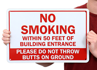 No Smoking Within 50 Feet Of Entrance Signs