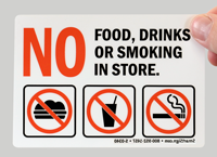 No Food Drinks Or Smoking Mirror Text Signs
