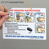 Employees Hand Washing Instructions Signs