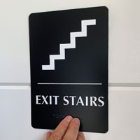 Exit stairs sign with braille