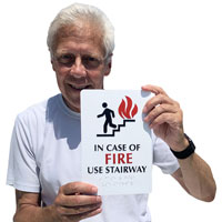 In case of fire use stairway sign
