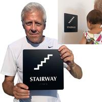 Braille stairway sign