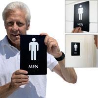 Men's restroom braille door sign