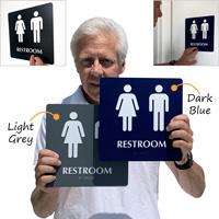 Restroom braille door sign in color