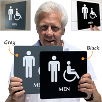 Men's room  braille sign with accessible and ADA symbol