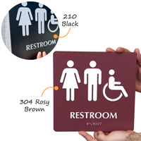 Restroom sign with accesible symbol
