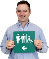 Restrooms Men Women Left Arrow Signs