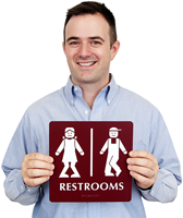 Bow legged Unisex Bathroom Humor Signs
