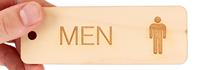 Wood Men Bathroom Keychain