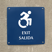 Bilingual Exit Braille Signs, Updated Accessible Pictogram