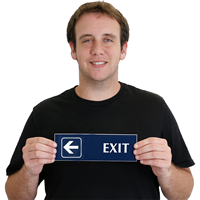 Exit, with Left Arrow Engraved Signs