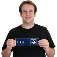 Exit, with Right Arrow Engraved Signs