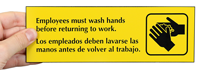 Employees Must Wash Hands Bilingual Signs