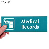 Medical Records Engraved Signs, File Cabinet Symbol