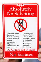 No Soliciting No Excuses Showcase Signs