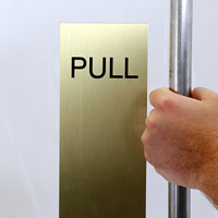Push Pull Engraved Brass Sign