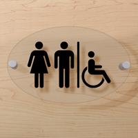 Unisex Handicap Restroom Symbol Sign