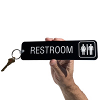 Restroom key tag with graphic