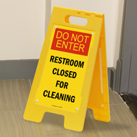 Do Not Enter, Restroom Cleaning Free-Standing Signs