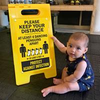 Fun social distancing sign
