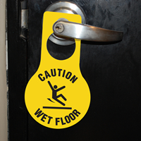 Caution Wet Floor Pear Shaped Door Hanger Tags