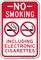 No Smoking, Including Electronic Cigarettes Sign, Vertical