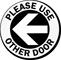 Please Use Other Door Left Arrow Decal