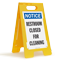 Notice Restroom Closed For Cleaning Fold-Ups® Floor Sign