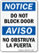 Bilingual Do Not Block Door OSHA Notice Sign