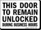Door Unlocked During Business Hours Sign