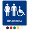 Men, Women And Accessible Pictogram Braille Restroom Sign