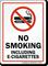 No Smoking Including E-Cigarettes Sign with Symbol