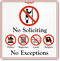 No Soliciting No Exceptions Showcase Sign