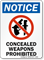 Notice, Concealed Weapons Prohibited Sign