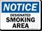 Notice Designated Smoking Area Sign