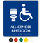 All-Gender Accessible Restroom Braille, Toilet Symbol Sign