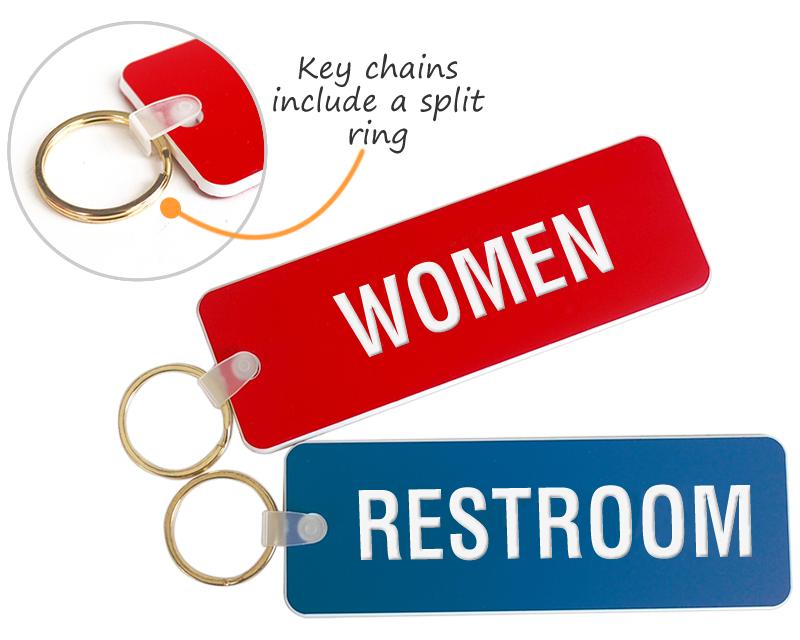 Bathroom Key Sign engraved bathroom key chains