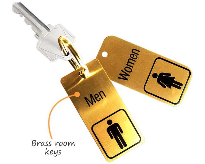 Bathroom Key Sign room key tags - room number key chains