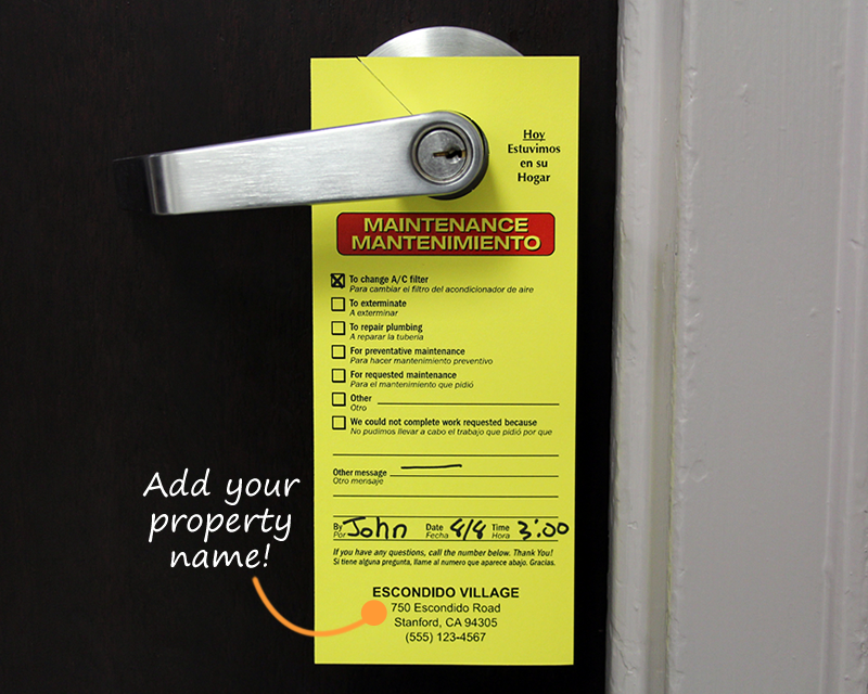 maintenance door hangers add your name or in stock designs