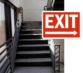"""/"""" Embossed Steel Sign Left Arrow 18x18 /""""EXIT"""
