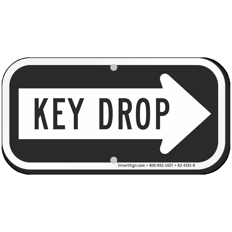 SmartSign Key Drop Sign 6 x 12 Aluminum Safety Signs & Signals ...