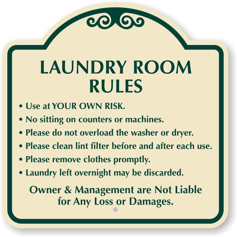 Laundry Room Rules Designer Sign Ships Fast Free SKU K - Laundry room signs