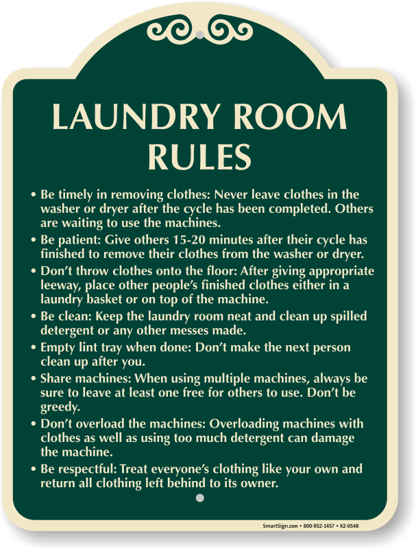 laundry room rules signature sign - Laundry Room Signs