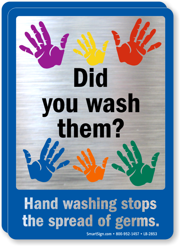 Hand Washing Stops The Spread Of Germs Mirror Decal Sku
