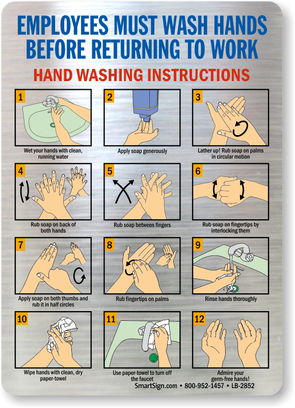 Employee Wash Hands Hand Washing Instructions Mirror Decal Sku