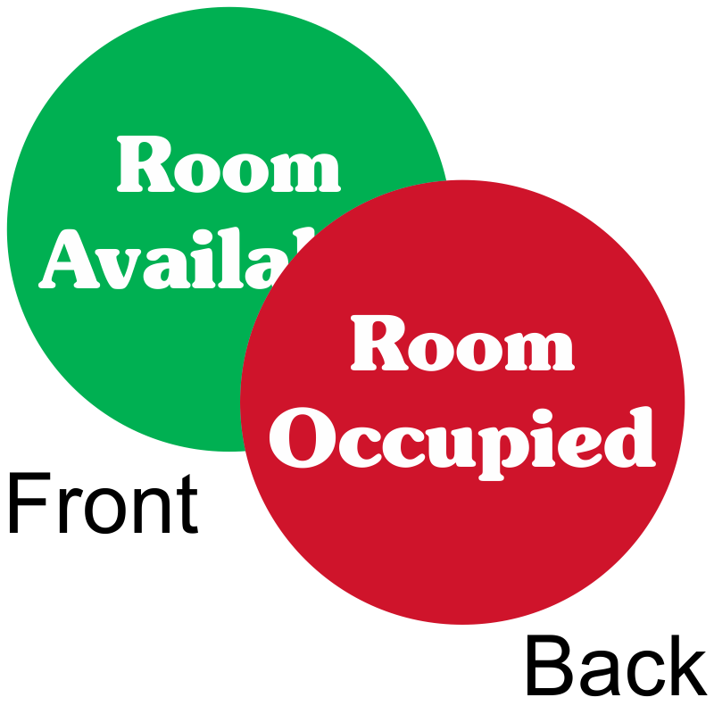 Room occupied room available 2 sided magnetic status for Occupied bathroom sign