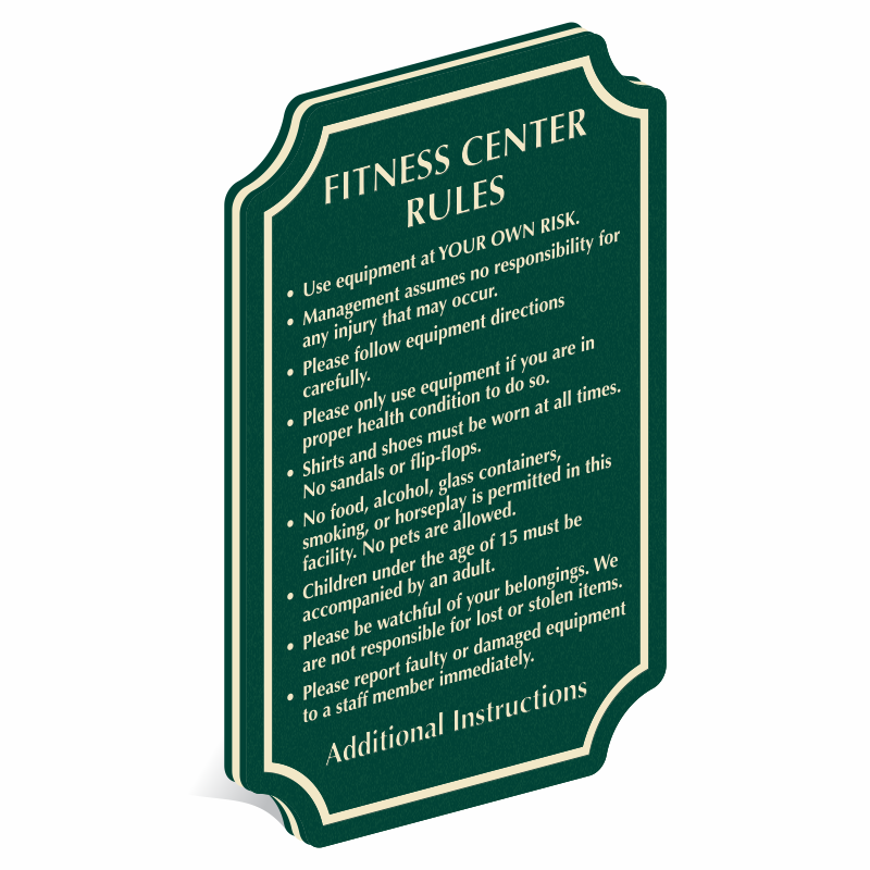 Gym signs fitness room health club from