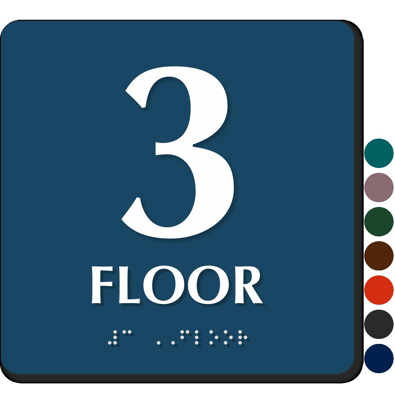 Floor number signs braille engraved glow in dark stair for Floor banner